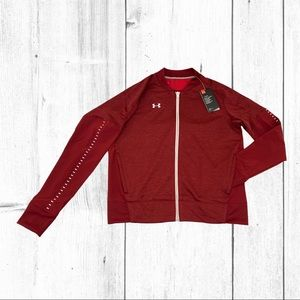 Under Armour Knit Warm-Up Jacket in Red Size Large
